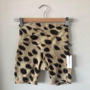 NWT WeWoreWhat cheetah print biker shorts size xs
